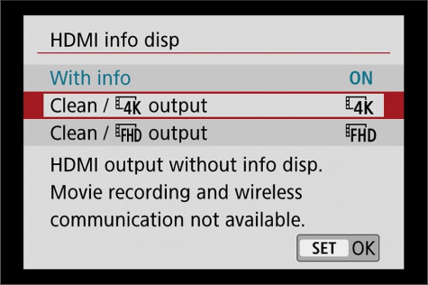 EOS cameras with clean HDMI output