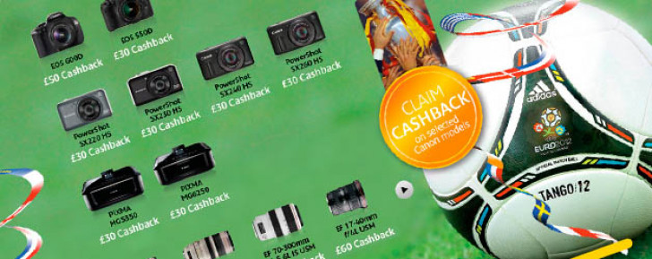 Canon UK cash back promotion for EURO 2012