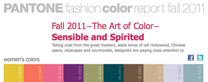 Autumn Winter fashion colour trends for 2011 by Pantone