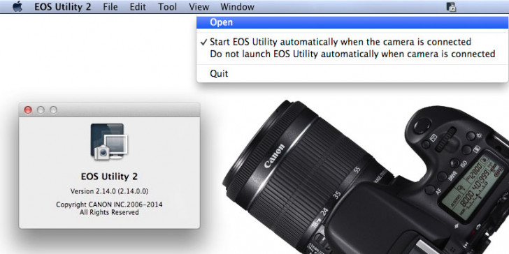 WiFi tethering EOS 70D using EOS Utility 2.14