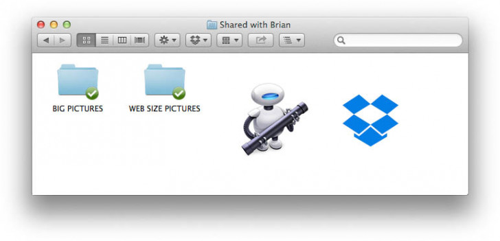 Workflow that combines Dropbox and Automator