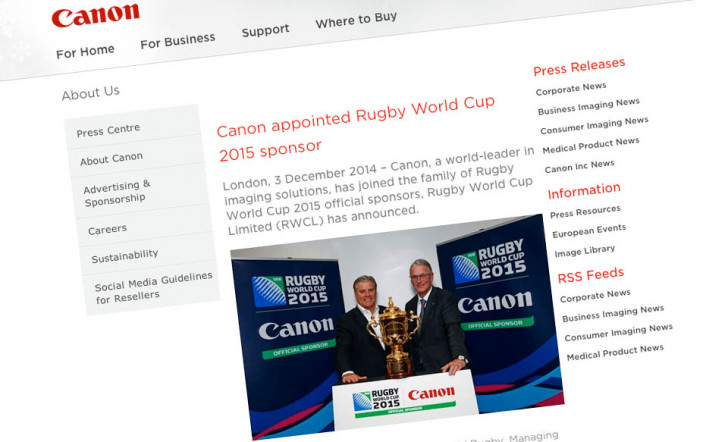 Canon to sponsor Rugby World Cup 2015 Tournament in England