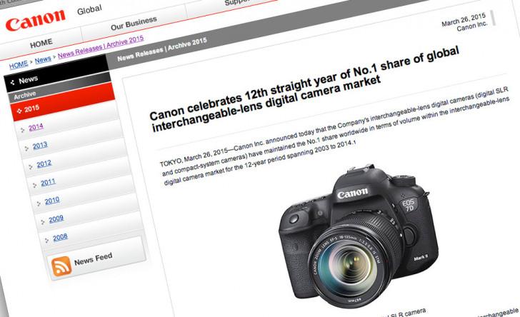 Canon 12 years global leader