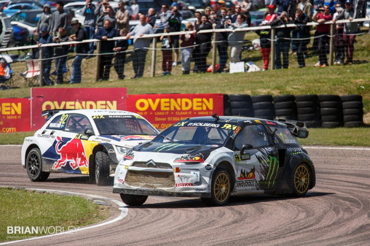 Petter Solberg at World Rallycross Championship 2015 round 4 at Lydden Hill.