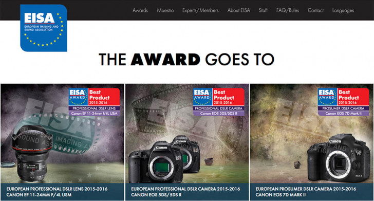 Canon scoops three EISA awards