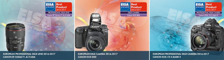 Canon wins 4 EISA awards